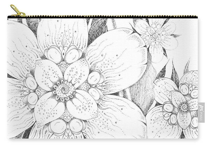 Flora Carry-all Pouch featuring the drawing Thinking About Summer by Helena Tiainen