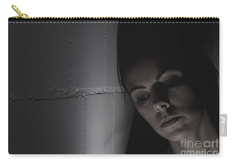 Sad Carry-all Pouch featuring the photograph Thinking Woman by Mats Silvan