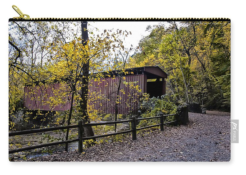 Thomas Mill Covered Bridge Over The Wissahickon Carry-all Pouch featuring the photograph Thomas Mill Covered Bridge Over The Wissahickon by Bill Cannon