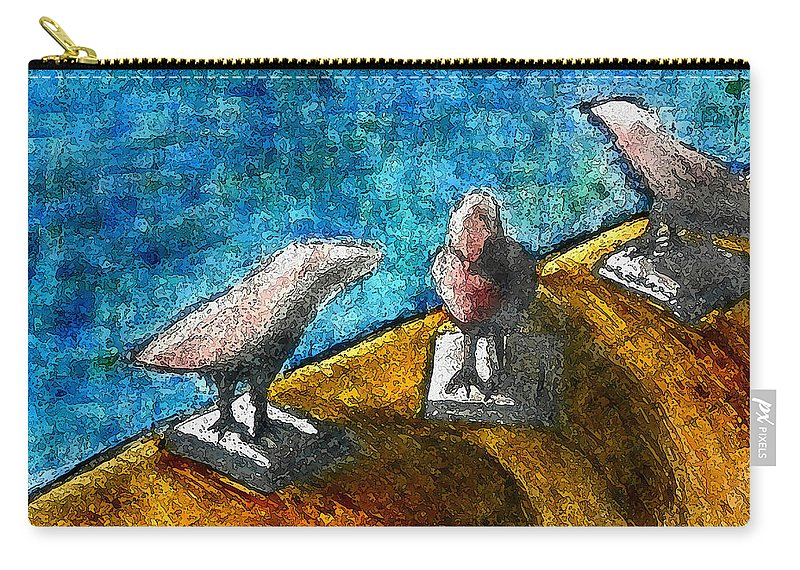 Birds By The Water Carry-all Pouch featuring the mixed media Three Birds Blue by James Raynor