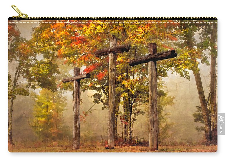 Appalachia Carry-all Pouch featuring the photograph Three Crosses by Debra and Dave Vanderlaan