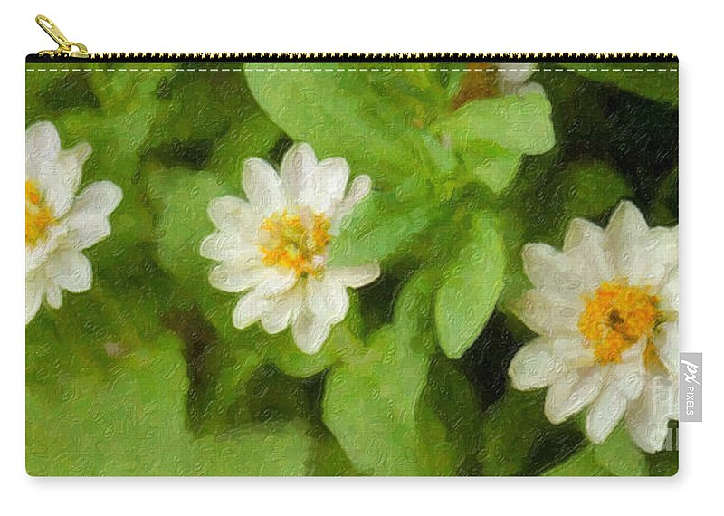 Flowers Carry-all Pouch featuring the photograph Three Flowers by Betty LaRue