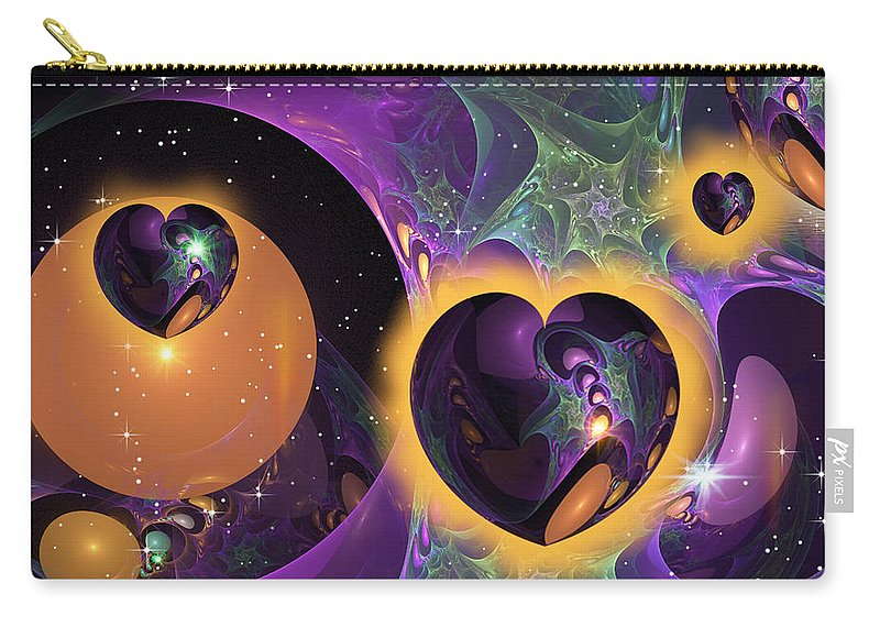 Phil Sadler Carry-all Pouch featuring the digital art Three Hearts by Phil Sadler