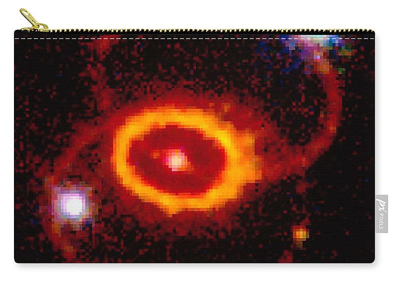 Supernova Carry-all Pouch featuring the photograph Three Rings Of Glowing Gas - Supernova by STScI/NASA/Science Source