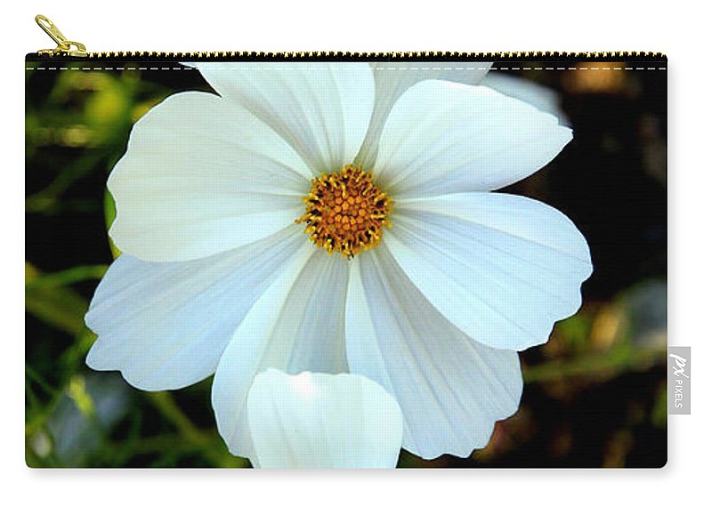 Flowers Carry-all Pouch featuring the photograph Three White Flowers by Steve McKinzie