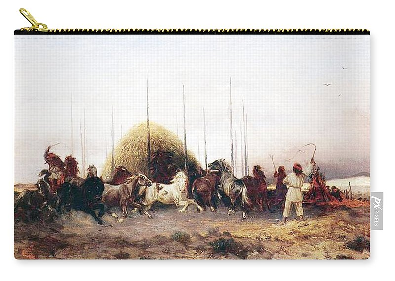 Thomas Moran Carry-all Pouch featuring the painting Threshing Wheat In New Mexico by Thomas Moran