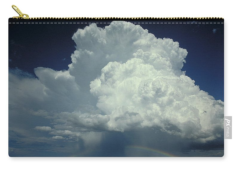 Thunderstorm Carry-all Pouch featuring the photograph Thunderclouds And Rinbow by Garry McMichael