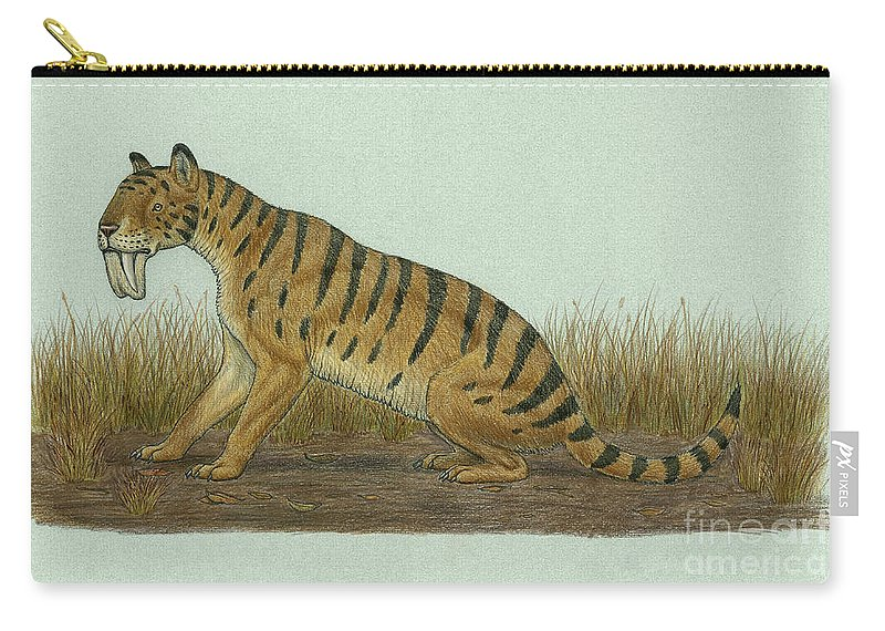 Thylacosmilus Atrox Carry-all Pouch featuring the digital art Thylacosmilus Atrox, A Genus by Heraldo Mussolini