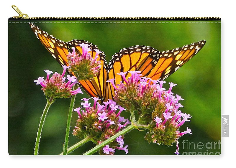 Monarch Butterfly On Pink Flowers Carry-all Pouch featuring the photograph Tiffany Wings And Flowers by Byron Varvarigos