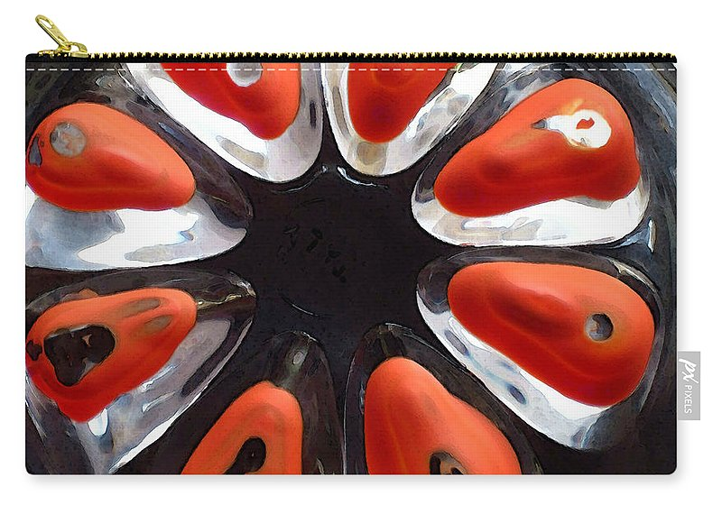 Red Carry-all Pouch featuring the photograph Orange And Black Art -time - Sharon Cummings by Sharon Cummings