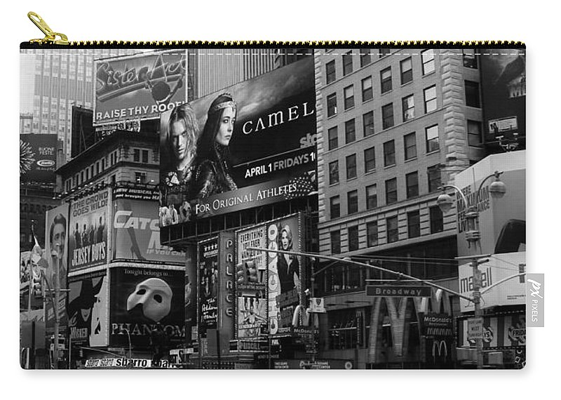 New York Carry-all Pouch featuring the photograph Times Square Black And White by Andrew Fare
