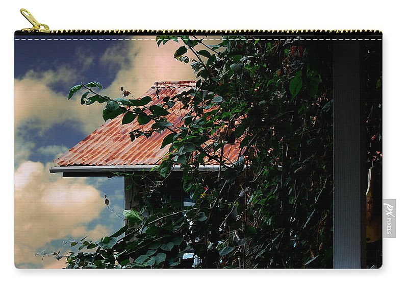 Wright Carry-all Pouch featuring the photograph Tin Roof And Vines by Paulette B Wright
