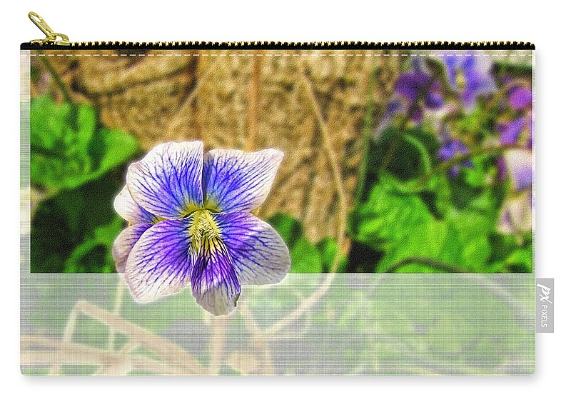 Greeting Card Carry-all Pouch featuring the photograph Tiny Violet  Blank Greeting Card by Debbie Portwood