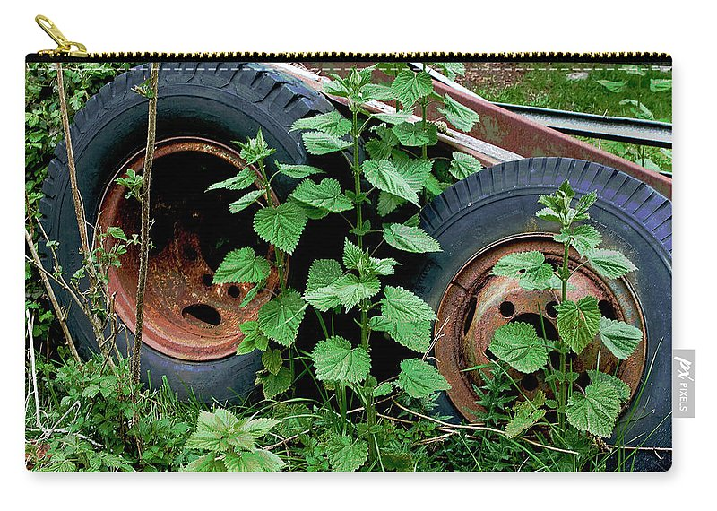 Tires Carry-all Pouch featuring the photograph Tires And Ivy by Lorraine Devon Wilke