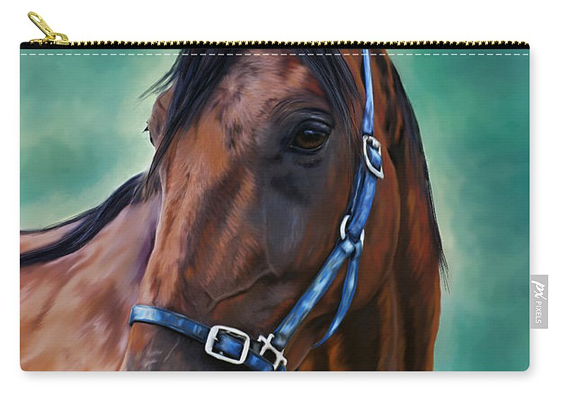 Horse Carry-all Pouch featuring the painting Tommy - Horse Painting by Michelle Wrighton