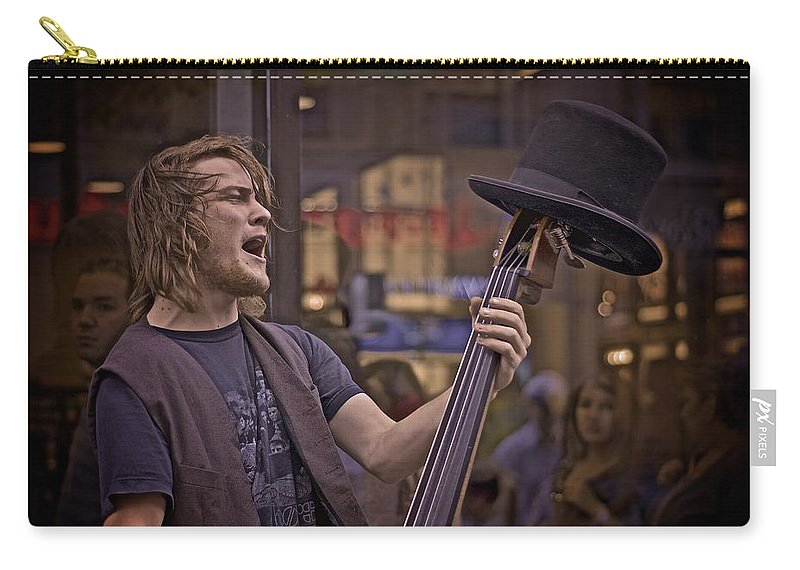Singer Carry-all Pouch featuring the photograph Top Hat Busker by Valerie Rosen