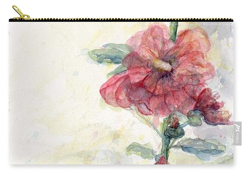 Watercolor Carry-all Pouch featuring the painting Touch Of Summer Hollyhocks Watercolor by CheyAnne Sexton