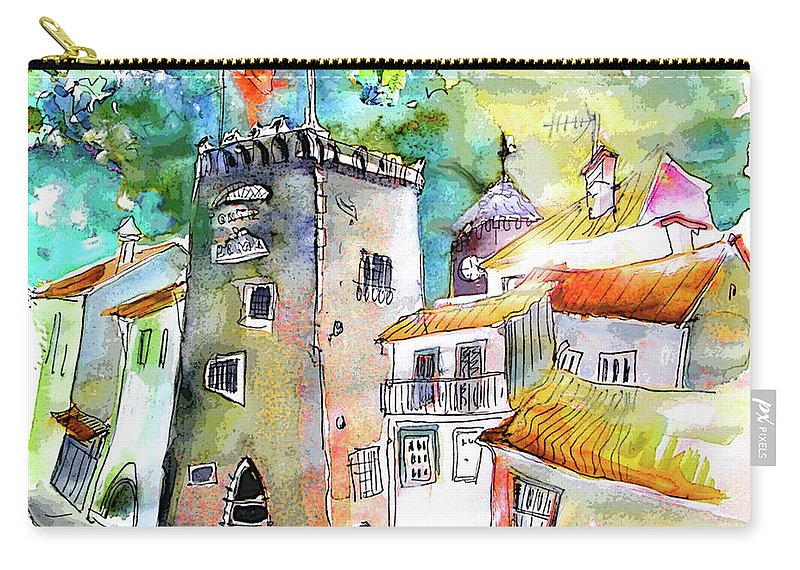 Portugal Carry-all Pouch featuring the painting Tower in Ponte de Lima in Portugal by Miki De Goodaboom