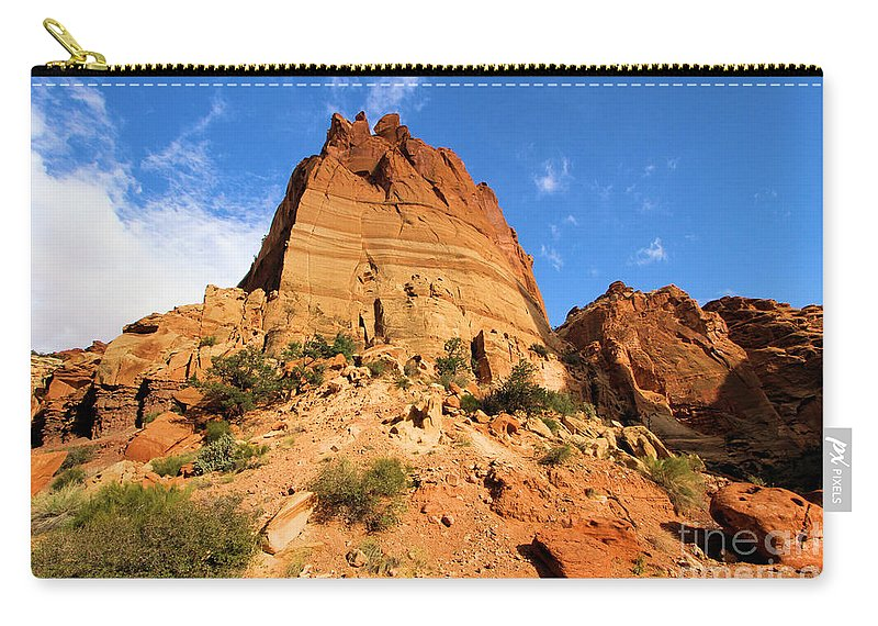 Capitol Reef National Park Carry-all Pouch featuring the photograph Tower In The Sky by Adam Jewell