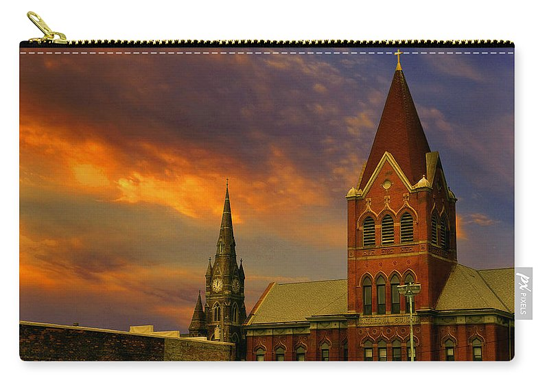 Church Carry-all Pouch featuring the photograph Towers Of Faith by Brian Fisher