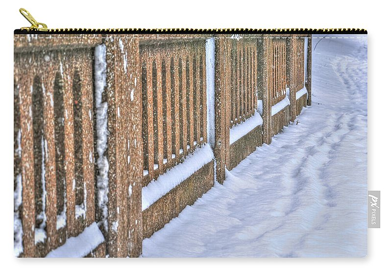 Carry-all Pouch featuring the photograph Tracks In The Snow by Michael Frank Jr