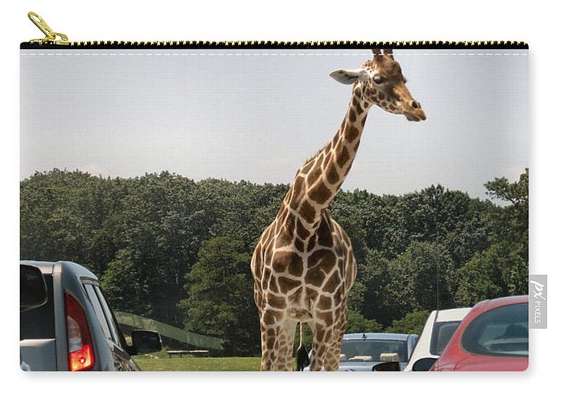 Giraffe Carry-all Pouch featuring the photograph Traffic Jam by Art Dingo