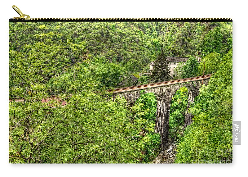 Bridge Carry-all Pouch featuring the photograph Train Bridge by Mats Silvan