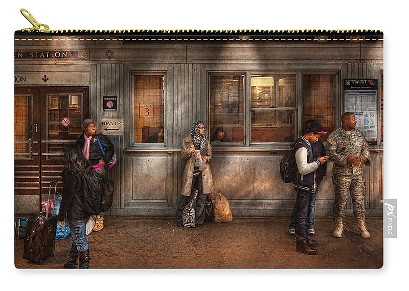Train Carry-all Pouch featuring the photograph Train - Station - Waiting For The Next Train by Mike Savad