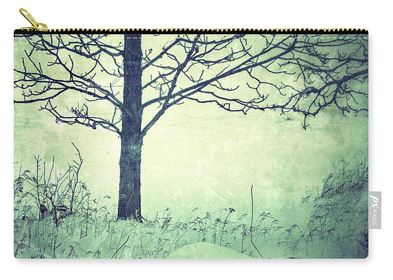 Rural Carry-all Pouch featuring the photograph Tree And Fence In The Fog And Snow by Jill Battaglia