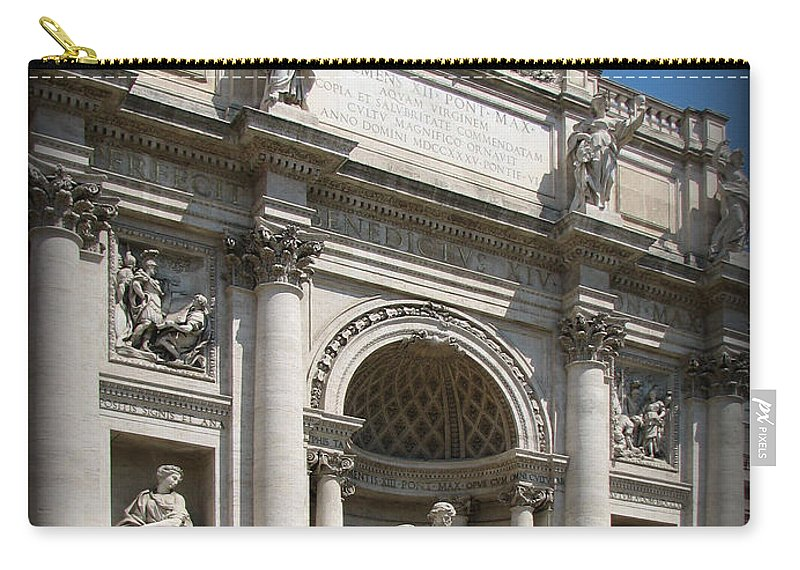 Rome. Italy Carry-all Pouch featuring the photograph Trevi Fountain by Carla Parris