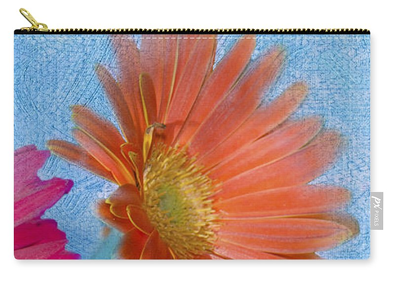 Triptych Carry-all Pouch featuring the photograph Triptych Gerbera Daisies-three by Betty LaRue