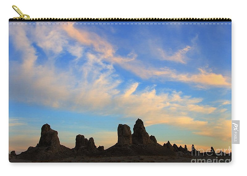 Trona Carry-all Pouch featuring the photograph Trona Pinnacles At Sunset by Bob Christopher