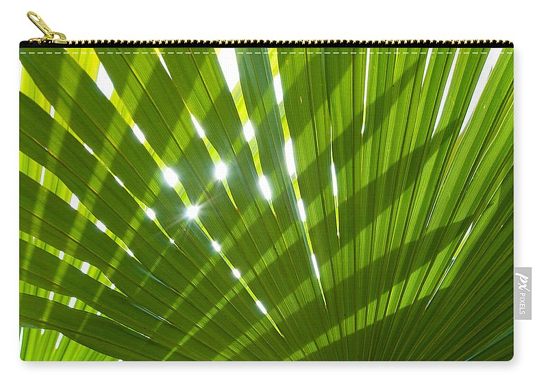 Palm Carry-all Pouch featuring the photograph Tropical Palm Leaf by Amanda Elwell