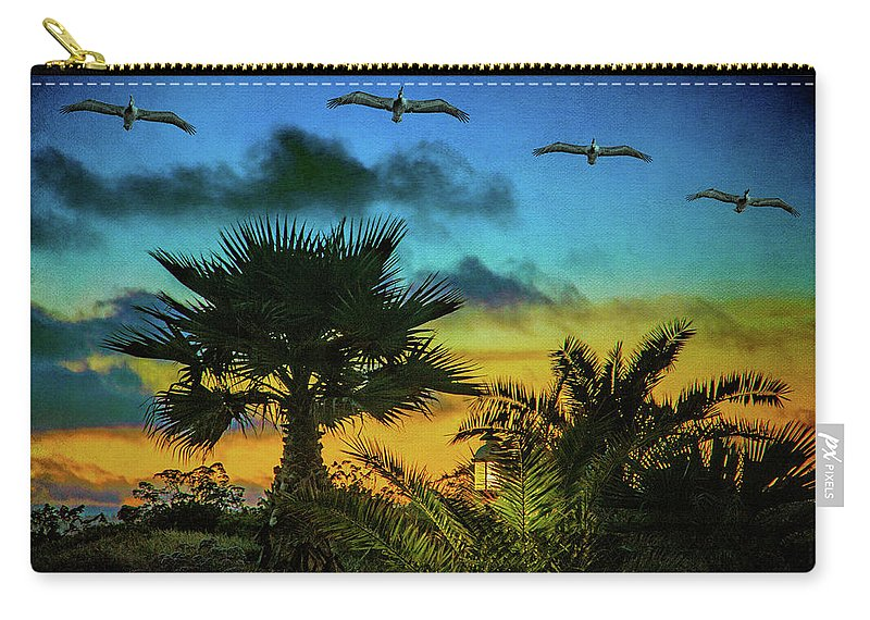 Sunset Carry-all Pouch featuring the photograph Tropical Sunset With Pelicans by Chris Lord