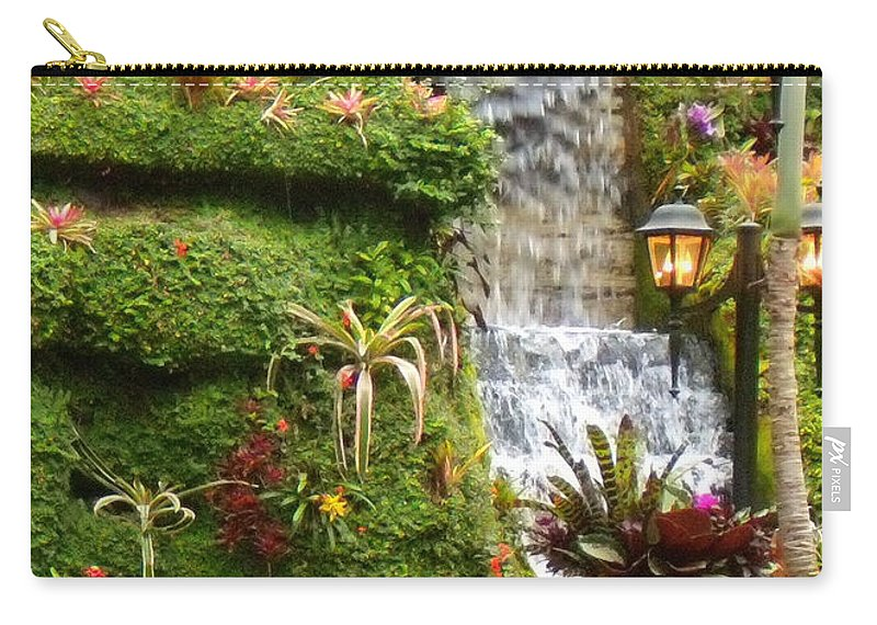 Waterfall Carry-all Pouch featuring the photograph Tropical Waterfall by Lydia Holly