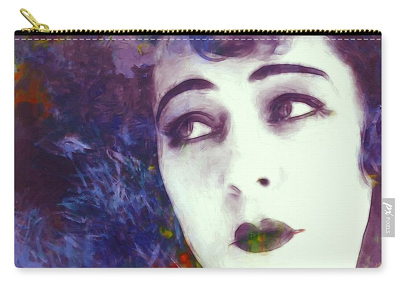Portrait Face Beauty Female Woman Girl Actress Expressionism Impressionism Color Colorful Oil Painting Russian American Film Movie Nazimova Erotic Vintage Carry-all Pouch featuring the painting True Beauty by Steve K