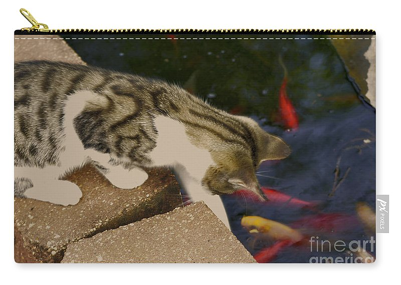 Animal Carry-all Pouch featuring the photograph Trying To Catch The Fish by Donna Brown