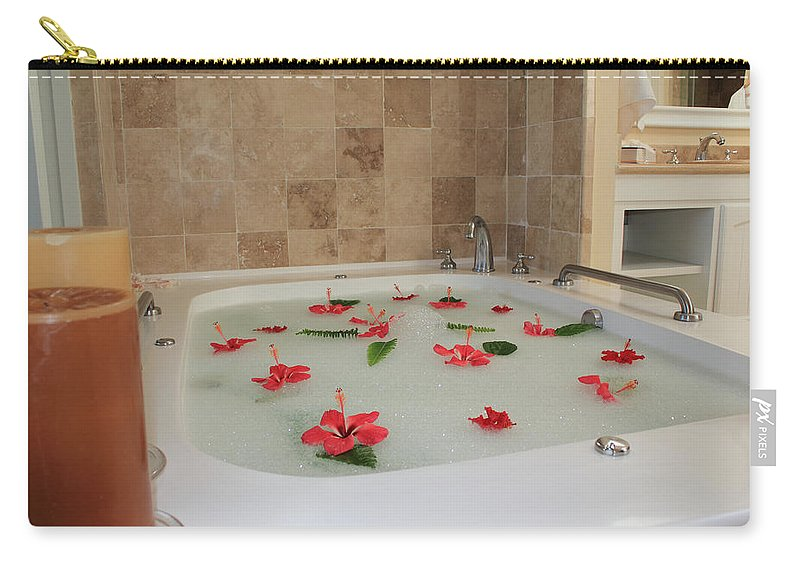 Bath Tub Carry-all Pouch featuring the photograph Tub Of Hibiscus by Shane Bechler