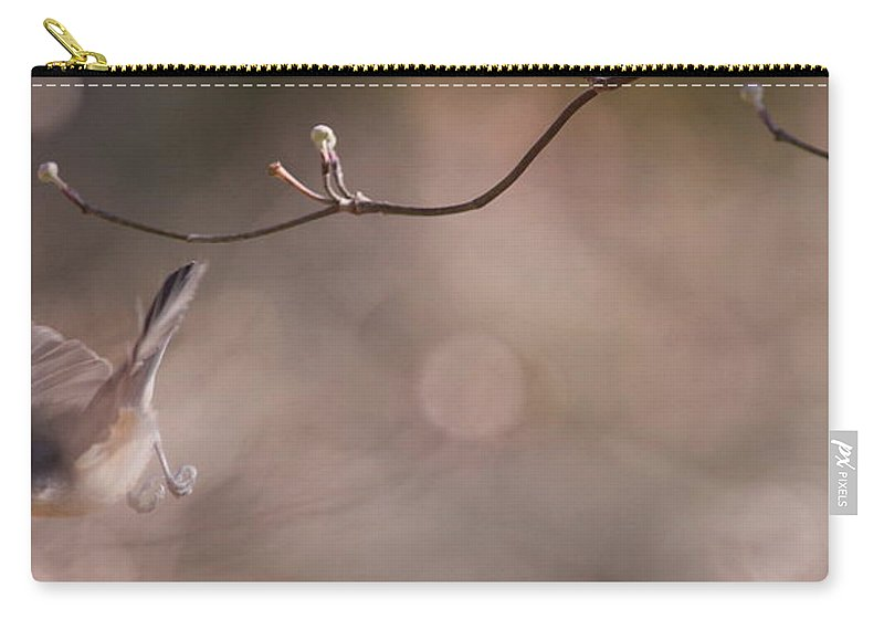 Tufted Titmouse Carry-all Pouch featuring the photograph Tufted Titmouse - Adios by Travis Truelove