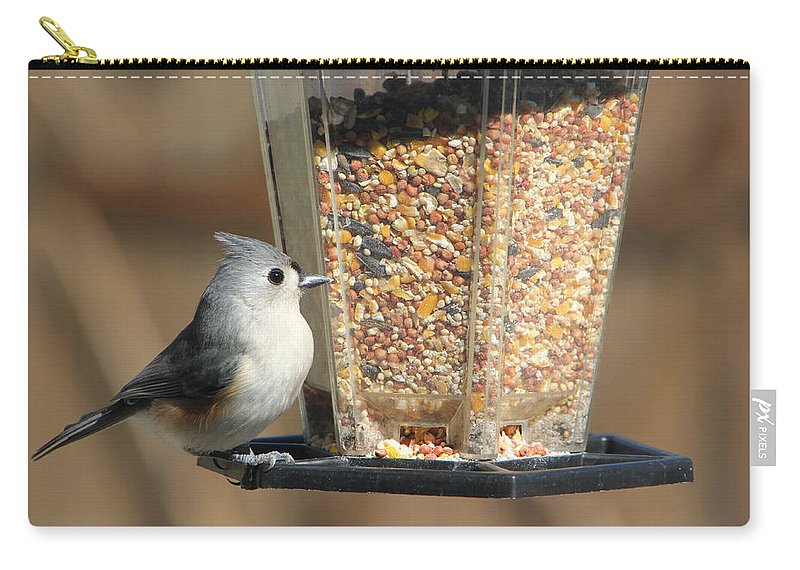 Tn Carry-all Pouch featuring the photograph Tufted Titmouse by Ericamaxine Price