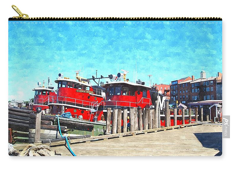 Portsmouth Nh Carry-all Pouch featuring the digital art Tugboat Twc by Jim Brage