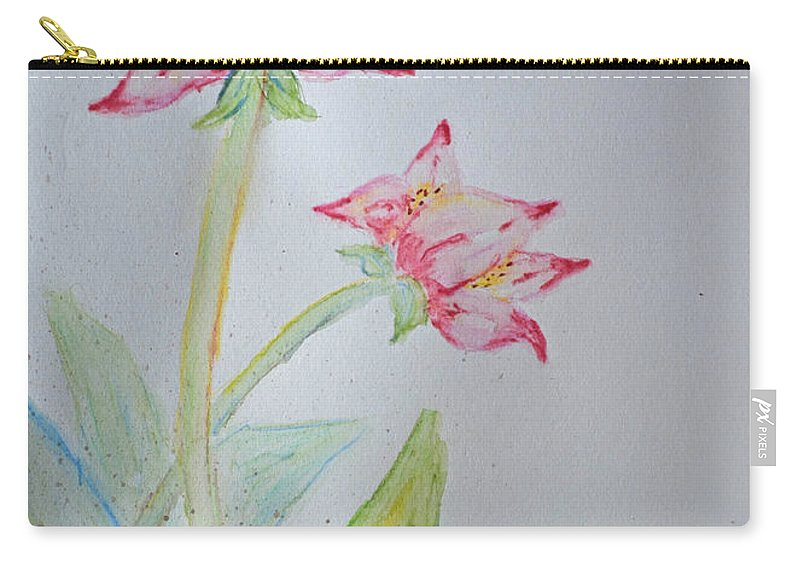 Watercolor Carry-all Pouch featuring the painting Tulip Duo I by Debbie Portwood