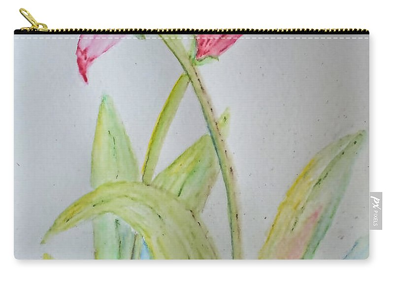 Nature Carry-all Pouch featuring the painting Tulip Duo II by Debbie Portwood
