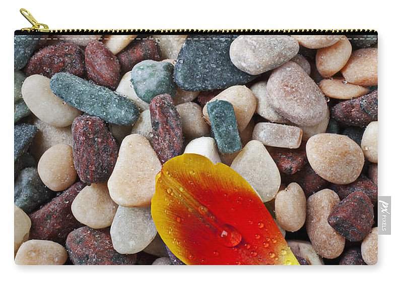 Tulip Petal Carry-all Pouch featuring the photograph Tulip Petal And Wet Stones by Garry Gay