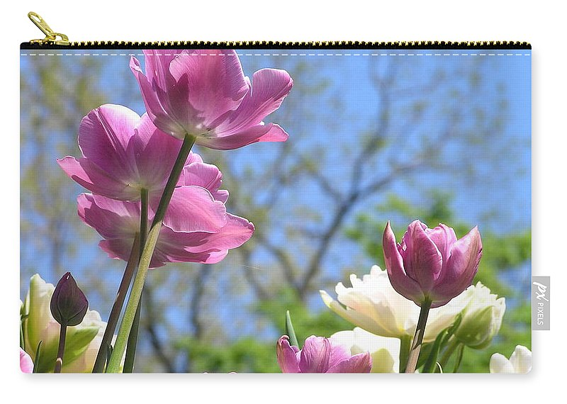 Violet Carry-all Pouch featuring the photograph Tulips In The Sun by Stefa Charczenko