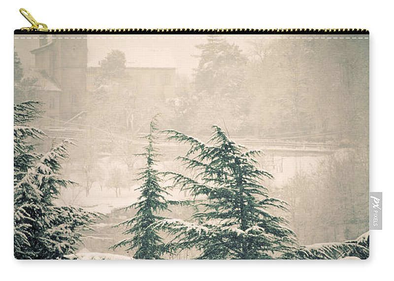 Turret Carry-all Pouch featuring the photograph Turret In Snow by Silvia Ganora