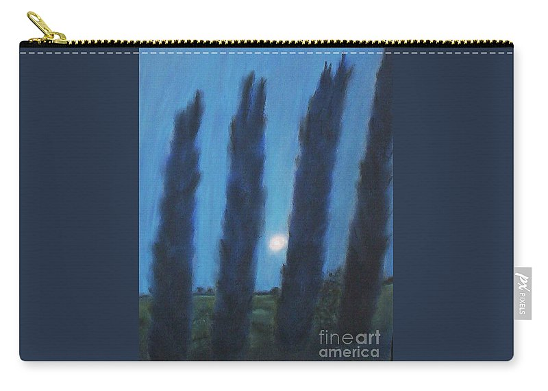 Cyprus Trees Carry-all Pouch featuring the pastel Tuscan Cyprus Trees by Julie Brugh Riffey
