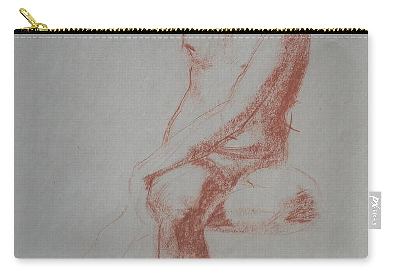 Life Drawing Carry-all Pouch featuring the drawing Twisted Sitting Man by Jennifer Christenson
