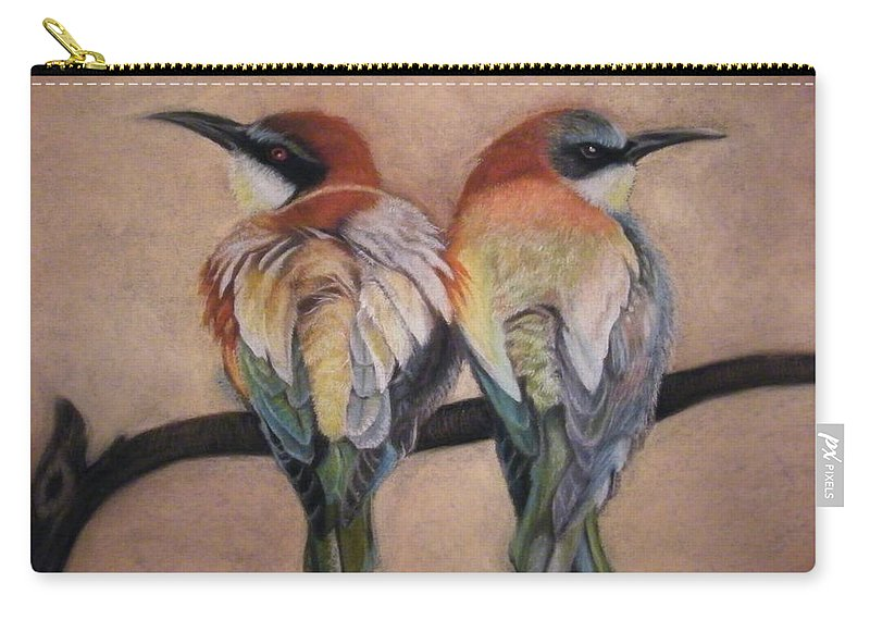 Birds Carry-all Pouch featuring the pastel Two Birds by Louise Macarthur Art and Photography