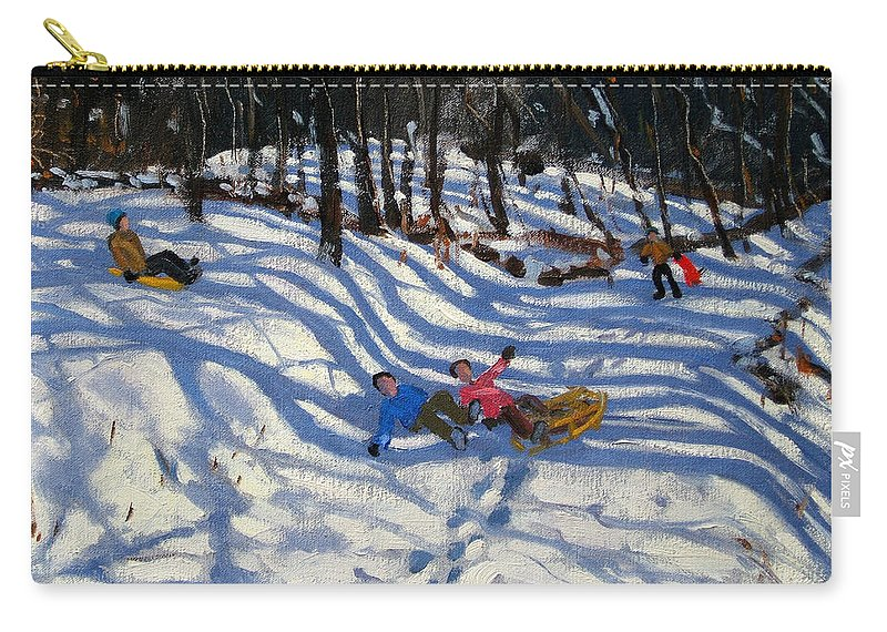 Sledging Carry-all Pouch featuring the painting Two Boys Falling Off A Sledge by Andrew Macara
